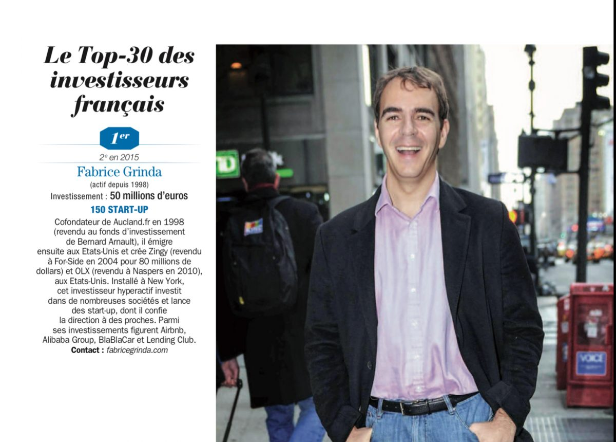 Apparently I am the top French business angel of 2016!